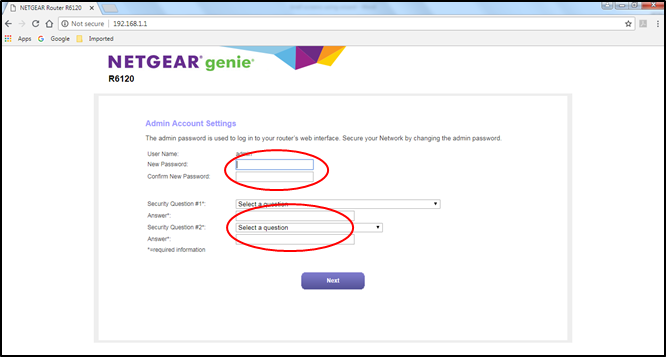 Image of step 6, adding new password, confirming new password and setting up your security question.